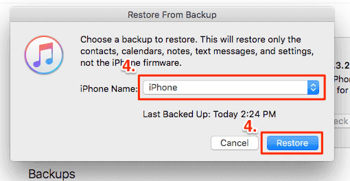 Restaurar iphone desde backup